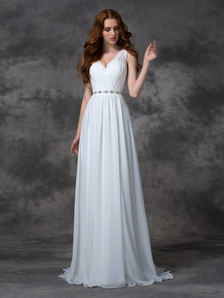 A-line/Princess Beading Sweep/Brush Train V-neck Sleeveless Chiffon Dresses