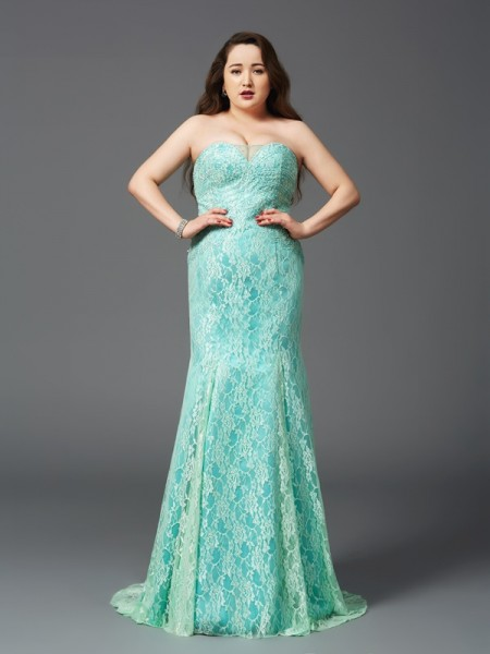 Sheath/Column Lace Court Train Strapless Sleeveless Satin Dresses