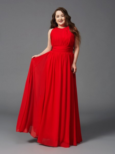 A-Line/Princess Ruched Floor-Length Jewel Sleeveless Chiffon Dresses