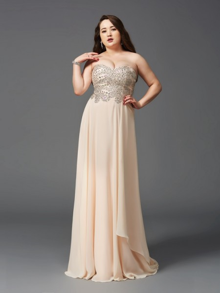 A-Line/Princess Rhinestone Sweep/Brush Train Sweetheart Sleeveless Chiffon Dresses