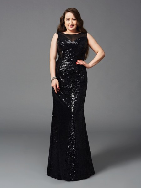 Sheath/Column Floor-Length Scoop Sleeveless Sequins Dresses