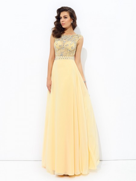 A-line/Princess Beading Floor-Length Bateau Sleeveless Chiffon Dresses