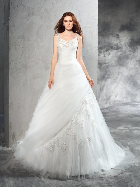 Ball Gown Applique Court Train Straps Sleeveless Net Wedding Dresses