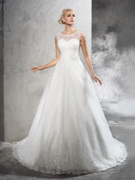Ball Gown Sash/Ribbon/Belt Court Train Sheer Neck Sleeveless Net Wedding Dresses