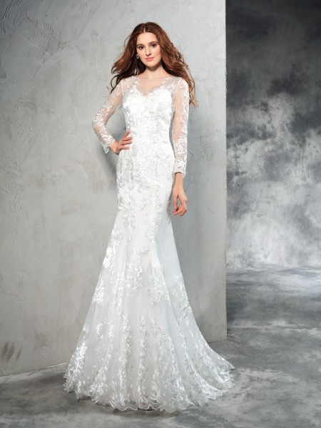 Sheath/Column Lace Sweep/Brush Train Sheer Neck Long Sleeves Net Wedding Dresses