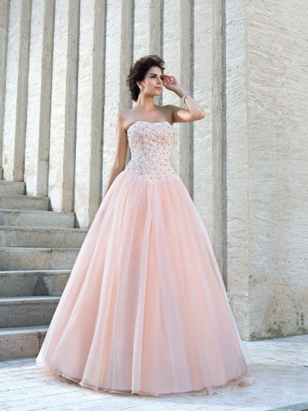 Ball Gown Beading Floor-Length Strapless Sleeveless Satin Wedding Dresses