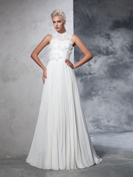 A-Line/Princess Pleats Court Train High Neck Sleeveless Chiffon Wedding Dresses