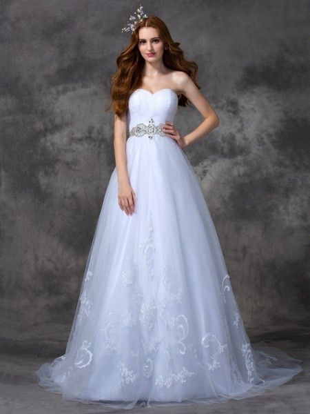 A-line/Princess Beading Sweep/Brush Train Sweetheart Sleeveless Satin Wedding Dresses