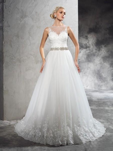 A-Line/Princess Beading Court Train Sheer Neck Sleeveless Net Wedding Dresses