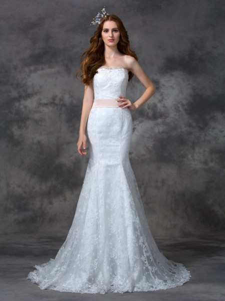 Trumpet/Mermaid Sash/Ribbon/Belt Court Train Strapless Sleeveless Lace Wedding Dresses