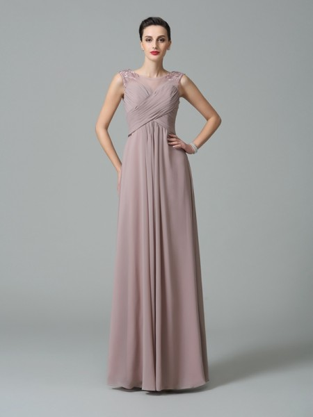 A-Line/Princess Ruched Floor-Length Scoop Sleeveless Chiffon Bridesmaid Dresses