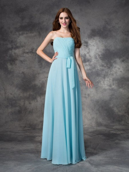 A-line/Princess Ruched Floor-length Strapless Sleeveless Chiffon Bridesmaid Dresses
