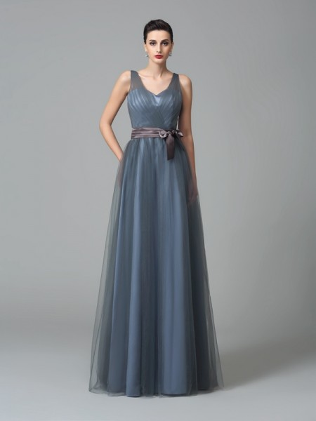 A-Line/Princess Sash/Ribbon/Belt Floor-Length Straps Sleeveless Net Bridesmaid Dresses