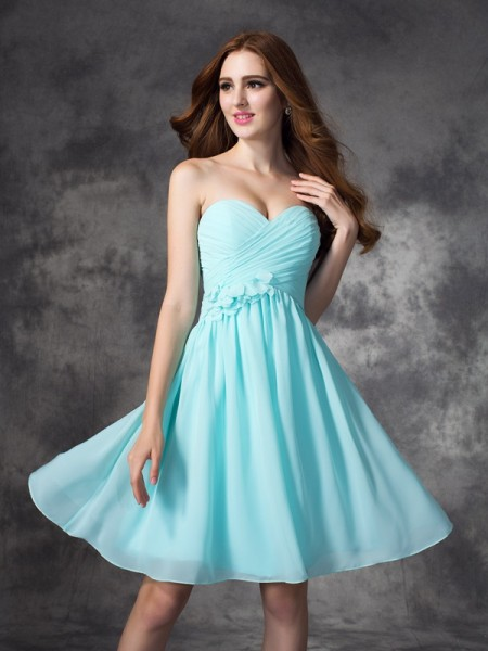 A-line/Princess Ruffles Short/Mini Sweetheart Sleeveless Chiffon Bridesmaid Dresses