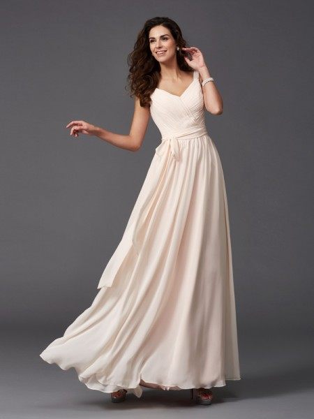 A-Line/Princess Sash/Ribbon/Belt Floor-Length Straps Sleeveless Chiffon Bridesmaid Dresses