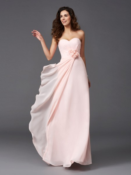 A-Line/Princess Hand-Made Flower Floor-Length Sweetheart Sleeveless Chiffon Bridesmaid Dresses