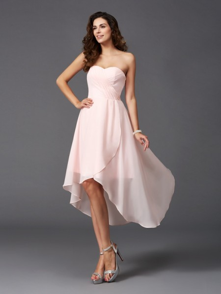 A-Line/Princess Ruffles Asymmetrical Sweetheart Sleeveless Chiffon Bridesmaid Dresses