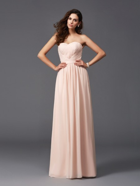 A-Line/Princess Pleats Floor-Length Sweetheart Sleeveless Chiffon Bridesmaid dresses