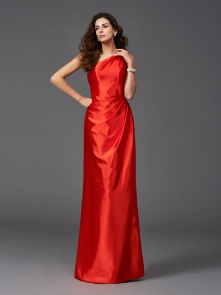 Sheath/Column Floor-Length One-Shoulder Sleeveless Elastic Woven Satin Bridesmaid dresses