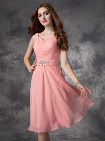A-line/Princess Rhinestone Knee-Length Straps Sleeveless Chiffon Bridesmaid Dresses