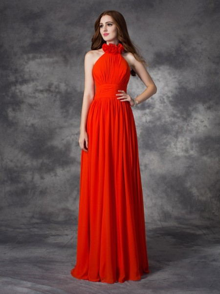 A-line/Princess Hand-Made Flower Floor-length Halter Sleeveless Chiffon Bridesmaid Dresses