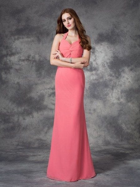 Sheath/Column Ruched Floor-length Halter Sleeveless Chiffon Bridesmaid Dresses