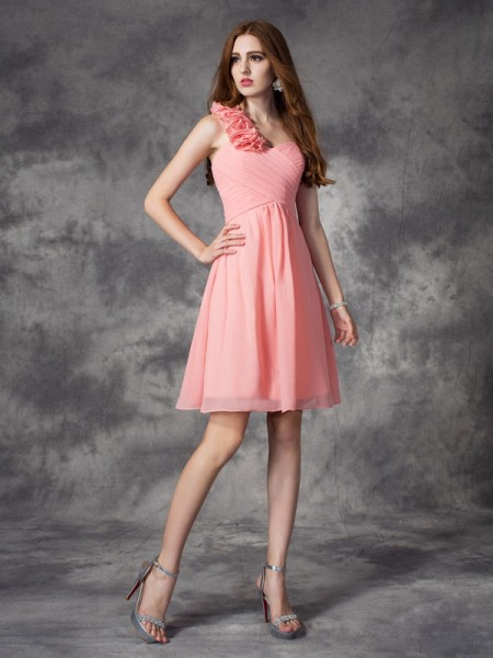 A-line/Princess Hand-Made Flower Short/Mini One-Shoulder Sleeveless Chiffon Bridesmaid Dresses