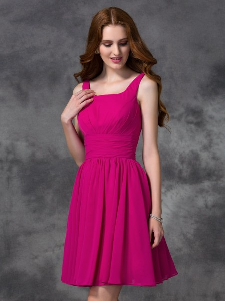 A-line/Princess Short/Mini Square Sleeveless Chiffon Bridesmaid Dresses