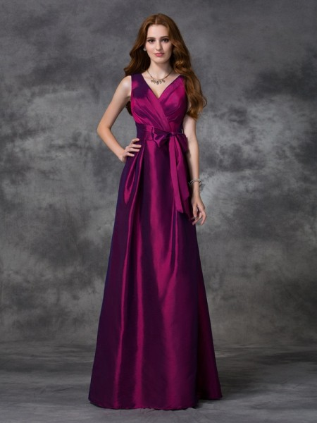 A-line/Princess Sash/Ribbon/Belt Floor-length V-neck Sleeveless Taffeta Bridesmaid Dresses