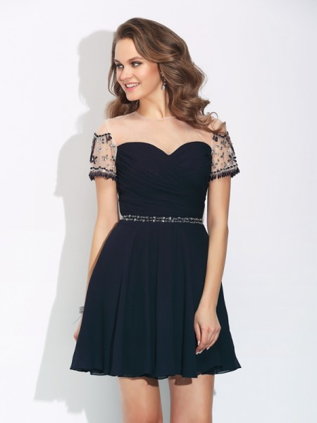 A-Line/Princess Beading Short/Mini Jewel Short Sleeves Chiffon Cocktail Dresses