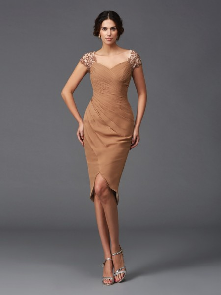 Sheath/Column Applique Asymmetrical Sweetheart Short Sleeves Chiffon Cocktail Dresses