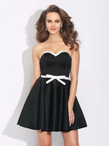 A-Line/Princess Bowknot Short/Mini Sweetheart Sleeveless Satin Cocktail Dresses