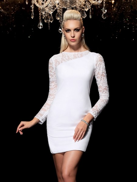 Sheath/Column Lace Short/Mini Scoop Long Sleeves Elastic Woven Satin Cocktail Dresses