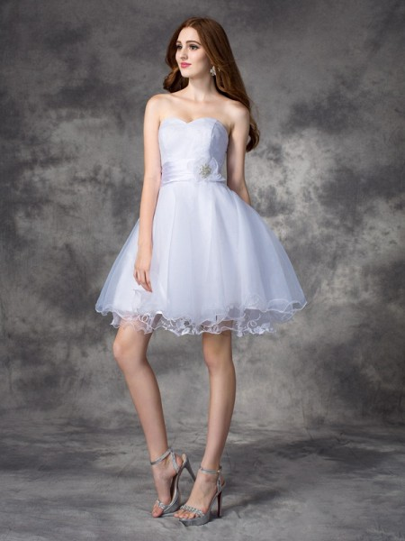 A-line/Princess Ruffles Short/Mini Sweetheart Sleeveless Organza Cocktail Dresses