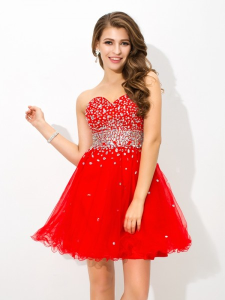 A-Line/Princess Beading Short/Mini Sweetheart Sleeveless Organza Cocktail Dresses