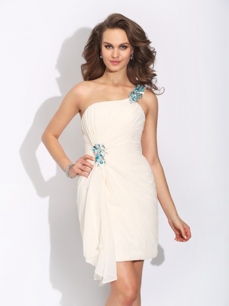 Sheath/Column Beading Short/Mini One-Shoulder Sleeveless Chiffon Cocktail Dresses