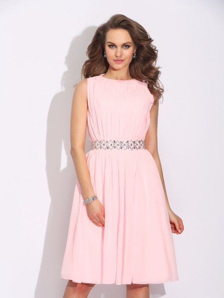 A-Line/Princess Ruffles Knee-Length Jewel Sleeveless Chiffon Cocktail Dresses