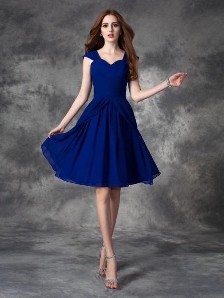 A-line/Princess Ruffles Short/Mini Straps Sleeveless Chiffon Cocktail Dresses