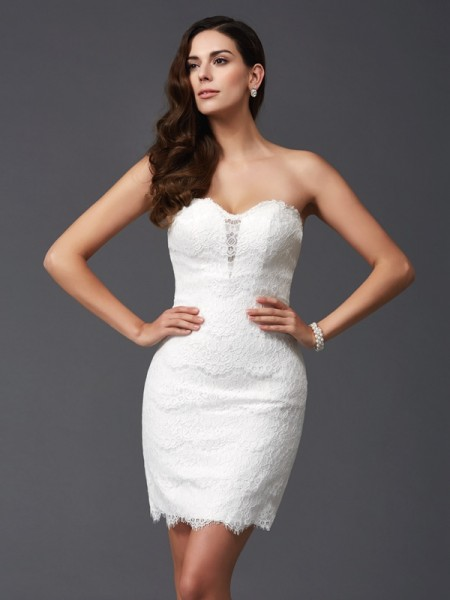 Sheath/Column Lace Short/Mini Sweetheart Sleeveless Lace Cocktail dresses
