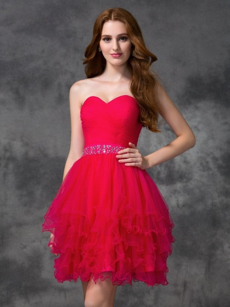 A-line/Princess Beading Short/Mini Sweetheart Sleeveless Satin Cocktail Dresses