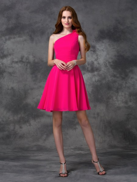 A-line/Princess Hand-Made Flower Short/Mini One-Shoulder Sleeveless Chiffon Cocktail Dresses