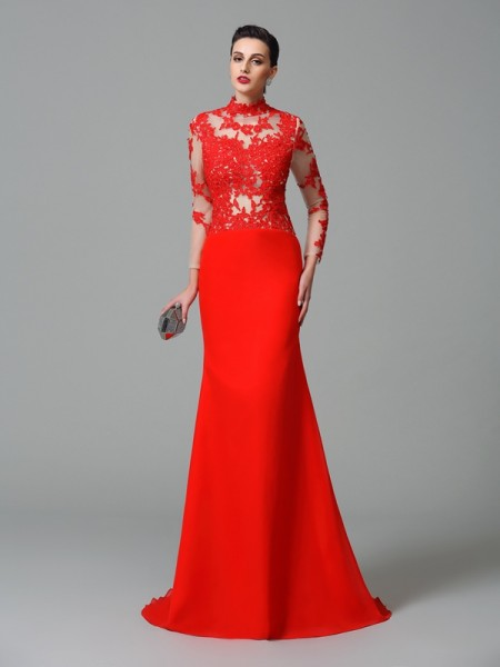 Trumpet/Mermaid Applique Sweep/Brush Train High Neck Long Sleeves Chiffon Dresses