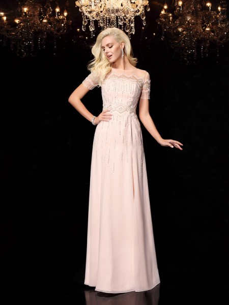 A-Line/Princess Beading Floor-Length Bateau Short Sleeves Chiffon Dresses