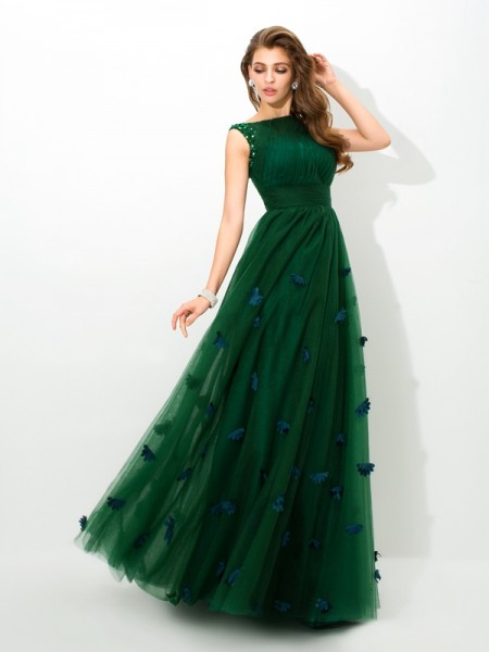 A-Line/Princess Beading Floor-Length Sheer Neck Sleeveless Net Dresses