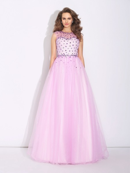 A-Line/Princess Rhinestone Floor-Length Jewel Sleeveless Net Dresses