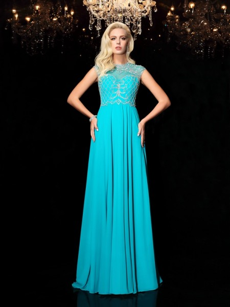 A-Line/Princess Lace Floor-Length Jewel Short Sleeves Chiffon Dresses