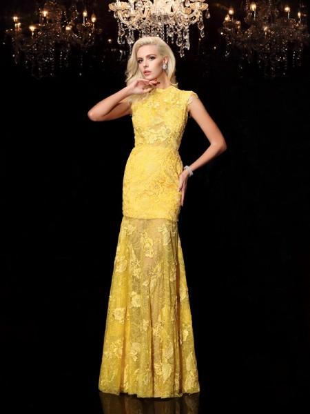 Sheath/Column Lace Floor-Length Jewel Short Sleeves Chiffon Dresses