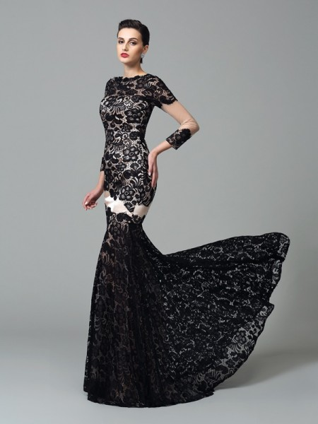 Sheath/Column Lace Sweep/Brush Train High Neck 3/4 Sleeves Elastic Woven Satin Dresses