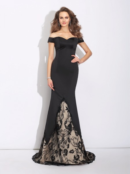 Trumpet/Mermaid Lace Sweep/Brush Train Off-the-Shoulder Sleeveless Satin Dresses