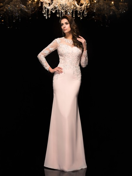 Sheath/Column Applique Floor-Length Sheer Neck 3/4 Sleeves Chiffon Dresses